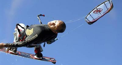 Catching big air kiteboarding